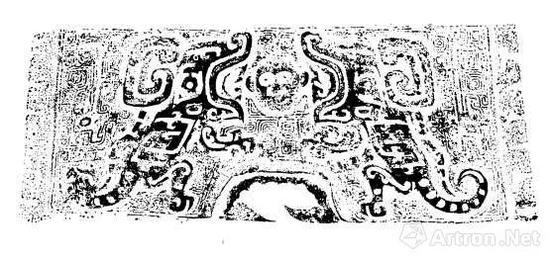 妇好大型铜钺花纹拓片 图片来自殷墟妇好墓考古报告